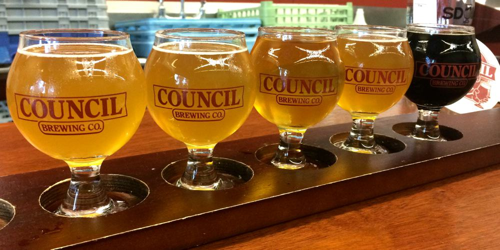 Council Brewing Beer Flight