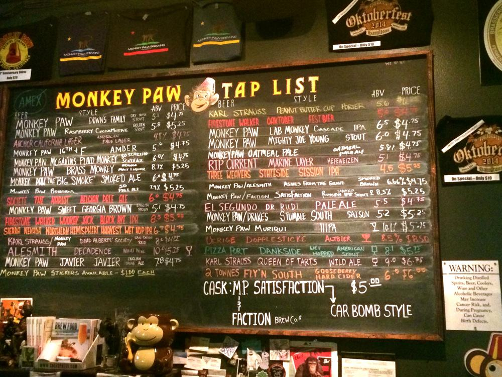 Monkey Paw Pub & Brewery Tap List